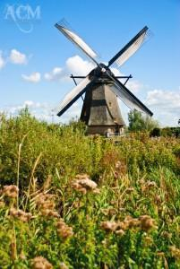 A traditional windmill at the Kinderdijk UNESCO site in the Netherlands.