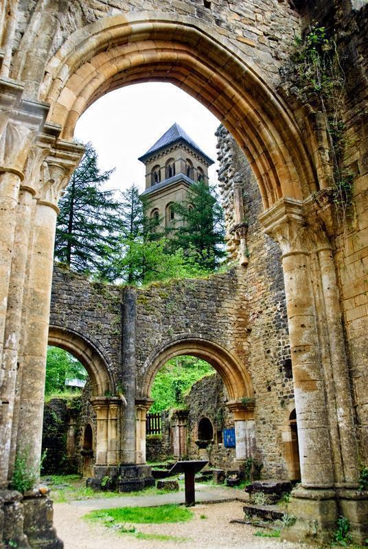 The tower of the new abbey as seen from the ruins.