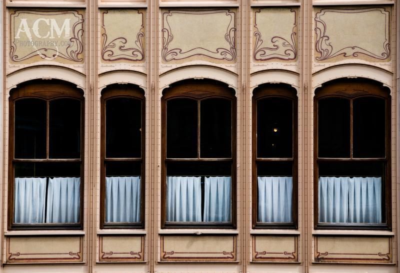Windows of the Hotel Van Eetveld a Horta designed building in Brussels.