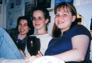 Left to Right: Moi, Marilla and Megan. I assure you, it's juice in those glasses.