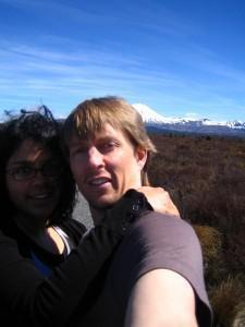 LeeAnn and Warwick posing on the desert plateau in New Zealand