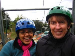 LeeAnn and Warwick in Rotorua NZ - on the chair lift to the luge