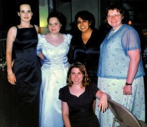 Megan's Wedding: Marilla, Megan, Tez our friend Christina and Me in the front.
