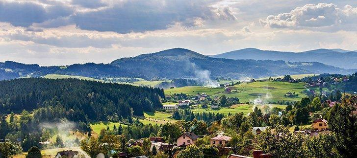 One of the views of the Silesian Beskids from our cabin in Istebna