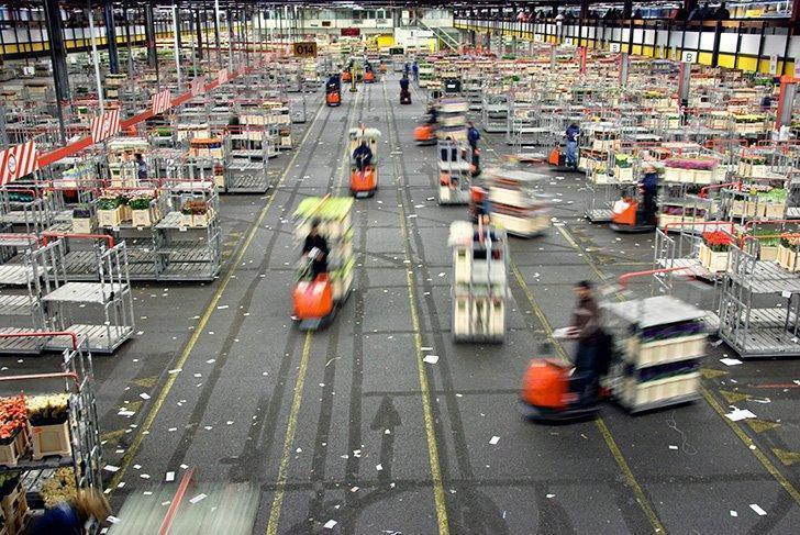 The motorized carts move quickly throughout the warehouse!