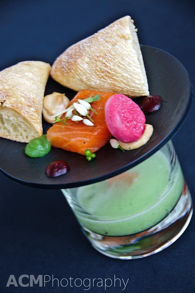 marinated salmon, foie gras, smoked salmon, green apple, cucumber, beets, sesame and green tea