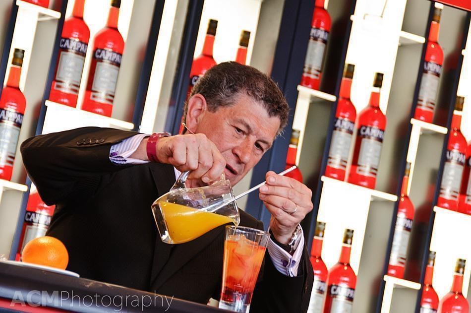 Mixing drinks in the Campari Booth