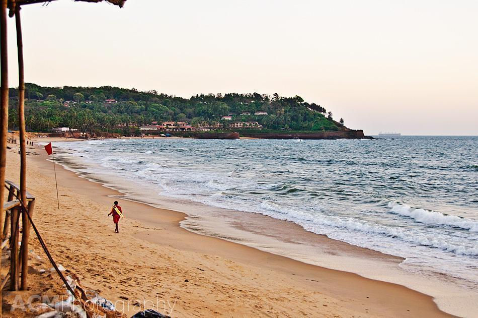 Candolim Beach at sunset - quiet in the off-season