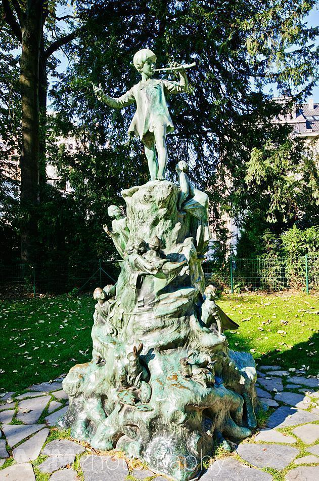 Peter Pan Statue in Parc D'Egmont, Brussels, Belgium
