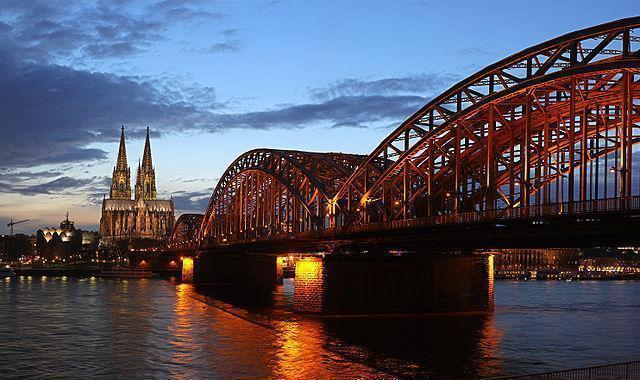 Hohenzollernbrücke  with Cologne Cathedral in the background