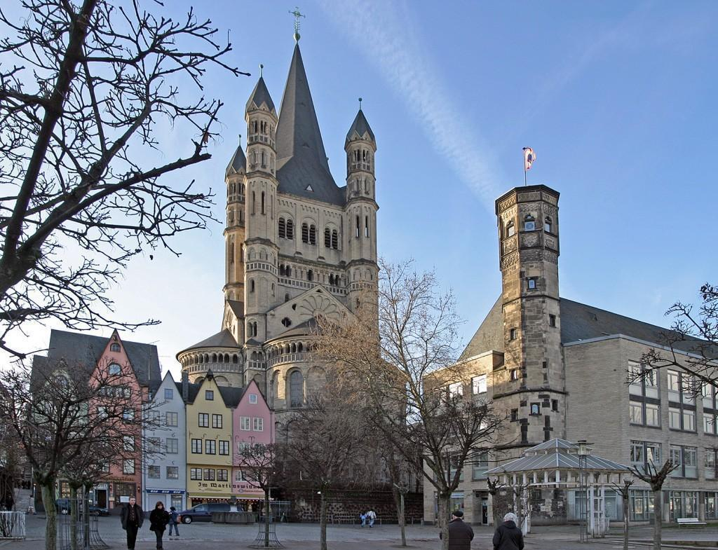 Groß St. Martin Church, seen from the fish market, Cologne, Germany