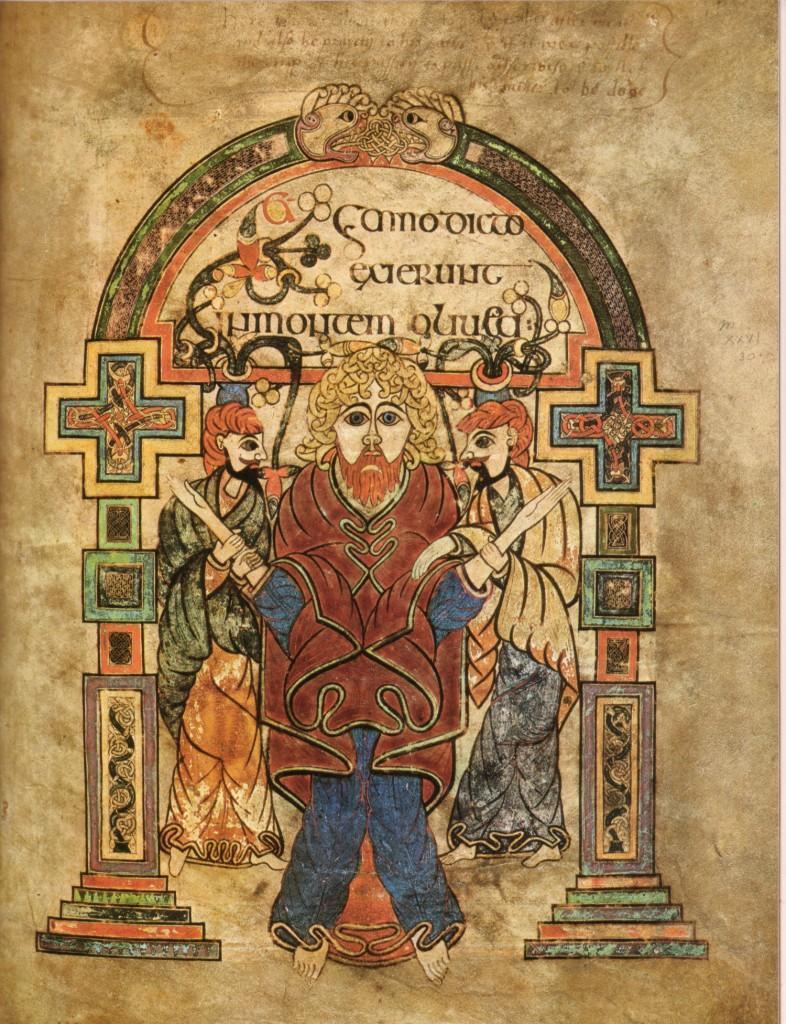 Book of Kells, Folio 114v, Arrest of Christ.