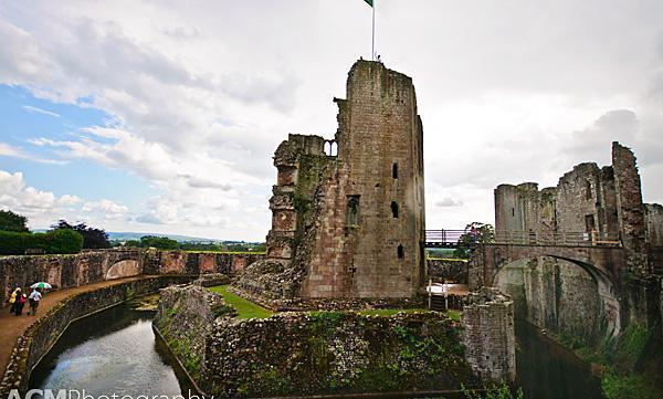The impressive moat and tower of Raglan Castle