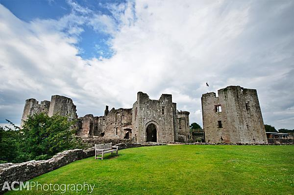 View of Raglan Castle from the grounds