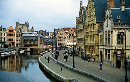 Graslei Waterfront in Ghent