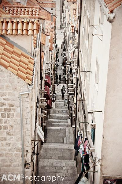 Peeking down the streets of Dubrovnik's Old Town