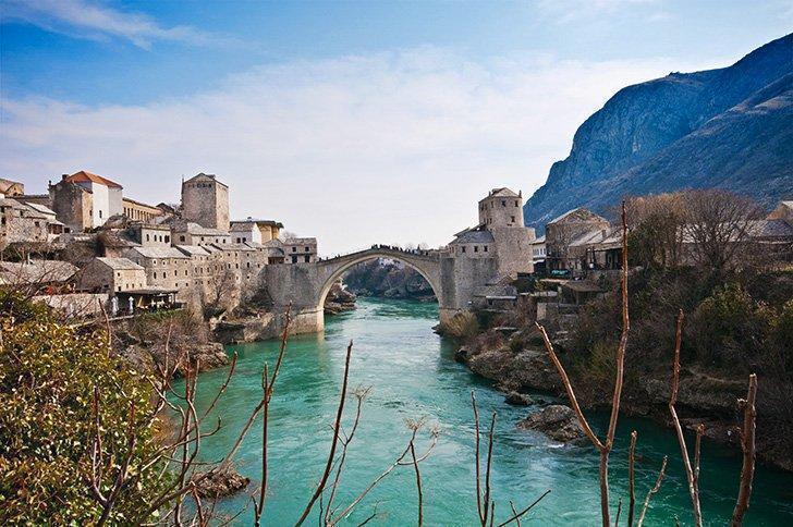Mostar's Beautiful Old Bridge, a UNESCO World Heritage site in Bosnia-Herzegovina