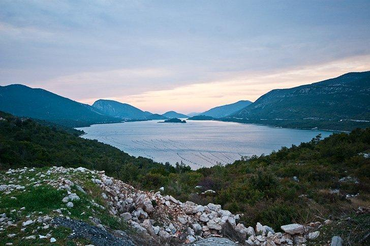 Sunset over Ston's oyster farms. in Ston, Croatia