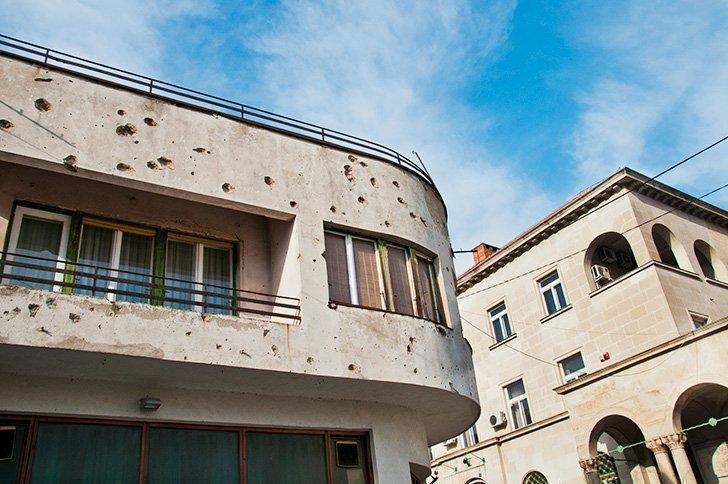 Evidence of the war in Mostar, Bosnia Herzegovina