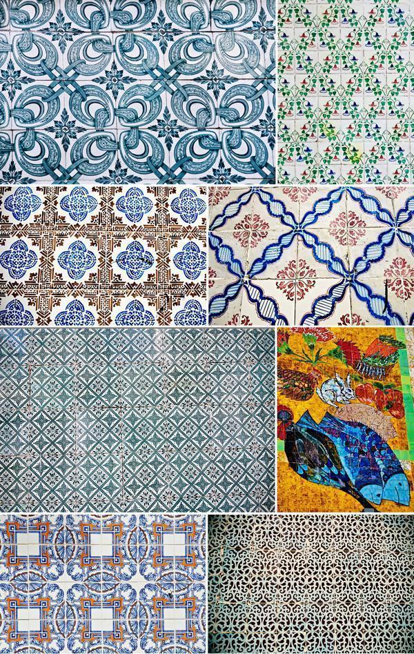 Colourful azulejo patterns