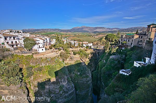 The Guadalevín River carved out the El Tajo canyon that divides Ronda, Spain