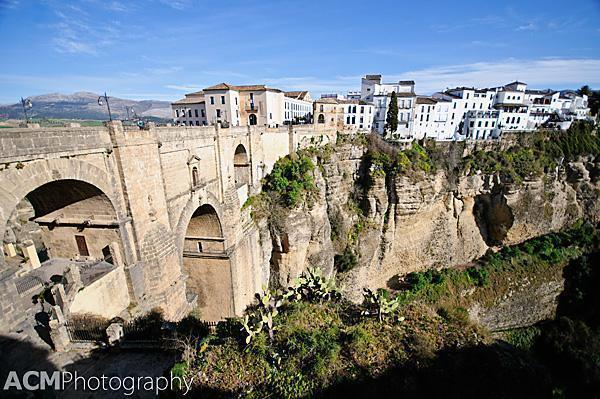 Ronda's New Bridge and canyon-side buildings