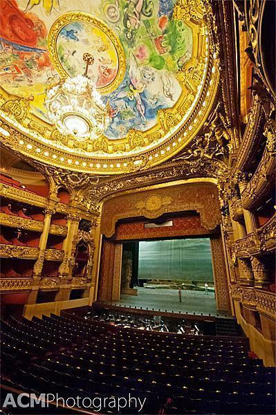 The stunning Marc Chagall ceiling at the Opera National de Paris