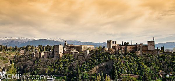 View of the Alhambra and surrounding mountains of Granada