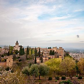 View of the Alhambra Palaces from the Generalife Gardens, in Granada, Spain