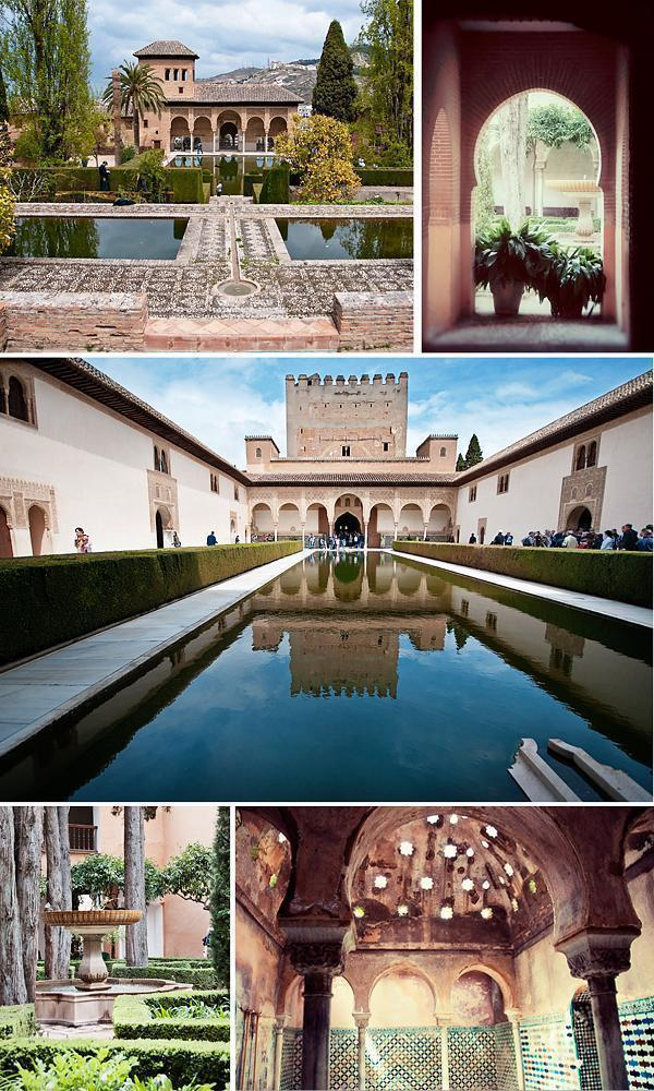 The Patio de Arrayanes (Court of the Myrtles), Palacio del Partal (Partal Palace) and the Arab baths.