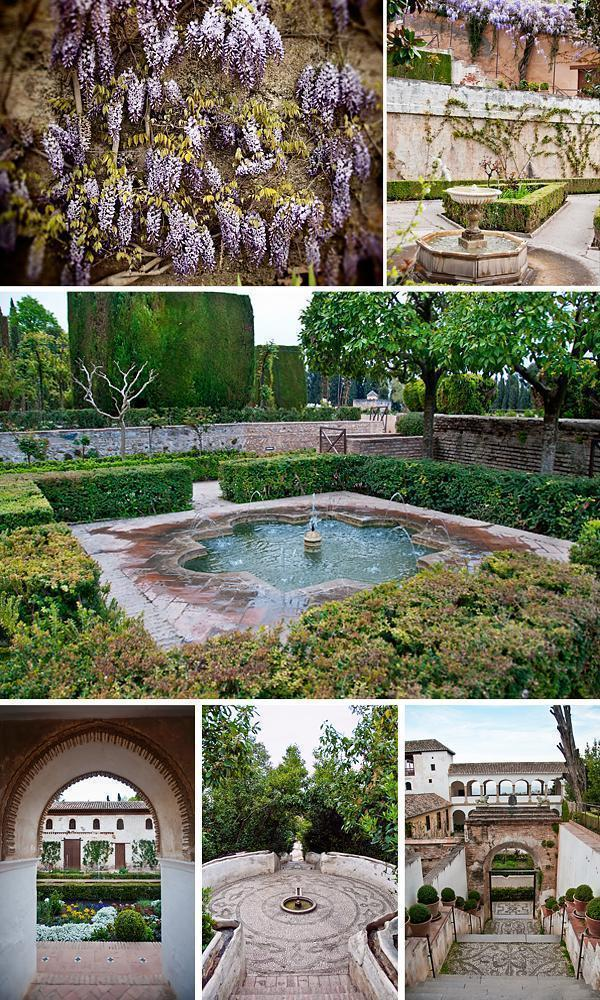 Water features and flowers in the Generalife Gardens