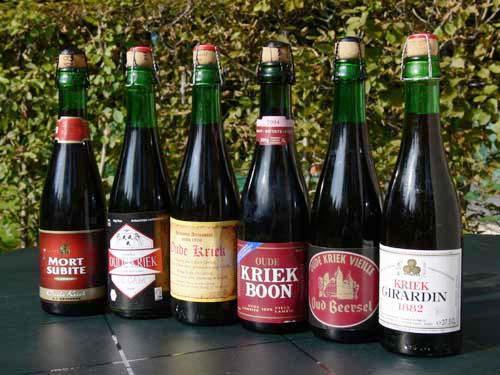 Kriek or cherry beer from a variety of Lambic beer makers