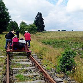 Rail-biking through the Belgian countryside