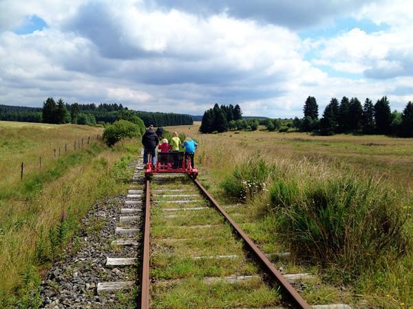 Whooshing along on our rail-bike