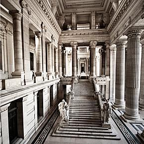 Under the scaffolding of the Palace of Justice, Brussels, Belgium