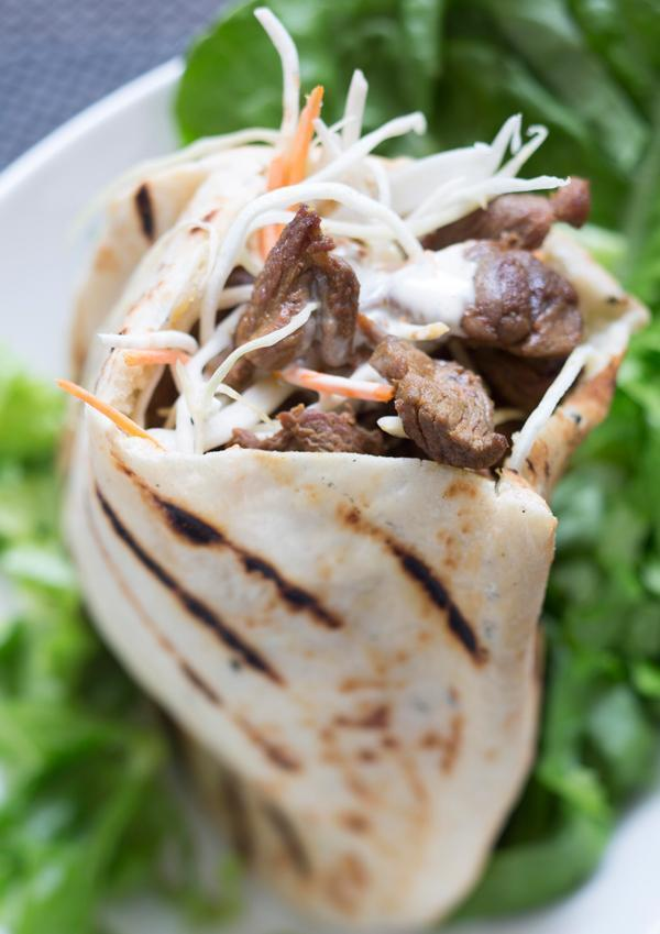 Young boar pita gyros with candied chestnut mayonnaise