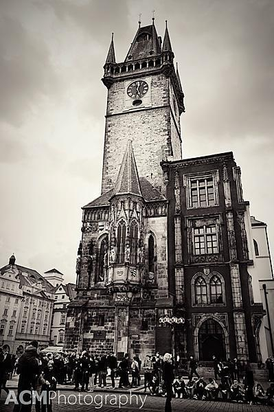 The Astronomical Clock Tower in moody Black and White