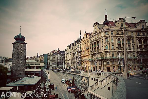 The colourful Vltava Riverfront, Prague