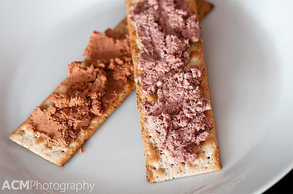 Trappist Beer Pate (top) and Duck Mousse with Port (bottom)
