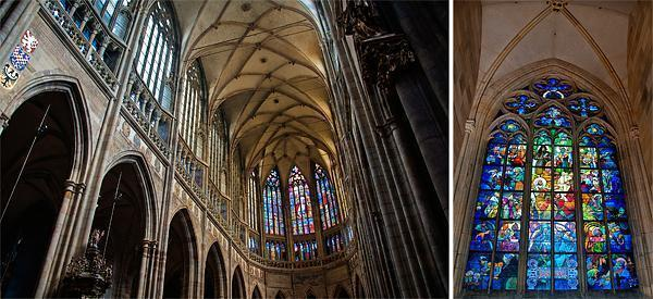 Inside Saint Vitus' Cathedral and the Alphonse Mucha window