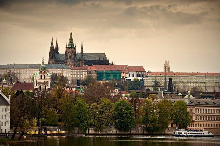 The iconic Prague Castle looms above the capital city of the Czech Republic.