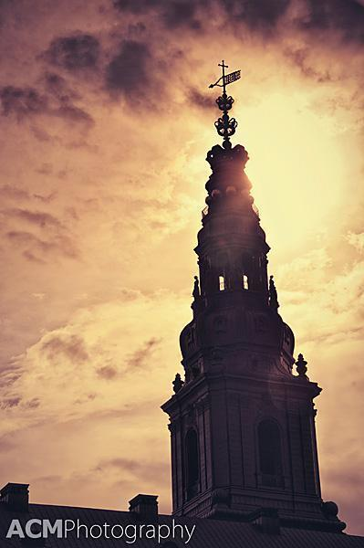 Christiansborg Castle at sunset