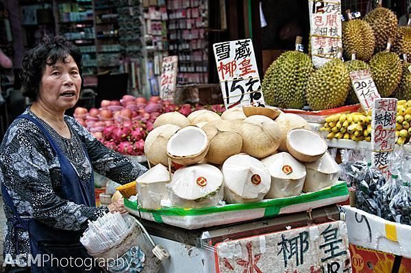 Fresh fruit for sale at a Hong Kong market stall