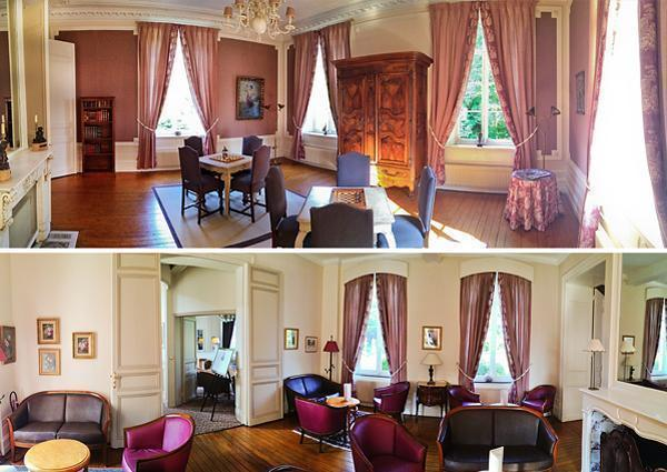 The lovely sitting-room at the Hotel Chateau Clery