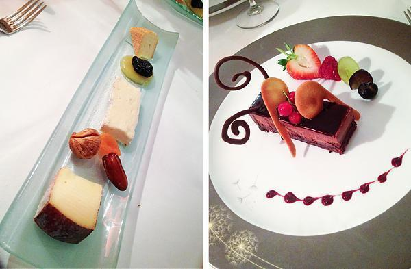 Cheese and dessert at Le Berthier restaurant