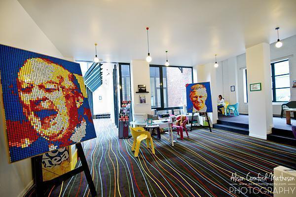 Rubix Cube art in the Funkey Hotel Lobby