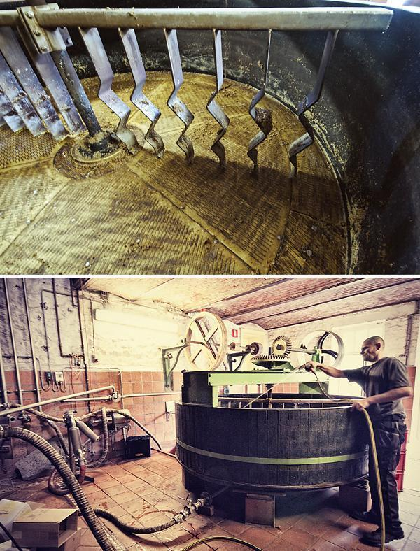 Cleaning the beer vat at Caracole