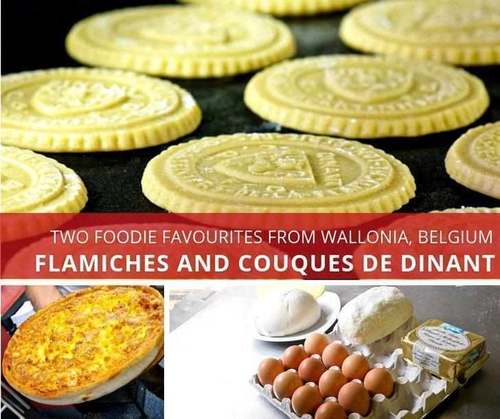 A super-rich tart called Flamiche and super-hard cookies called Couques de Dinant are two local favourites you should try when visiting Dinant, Wallonia, Belgium