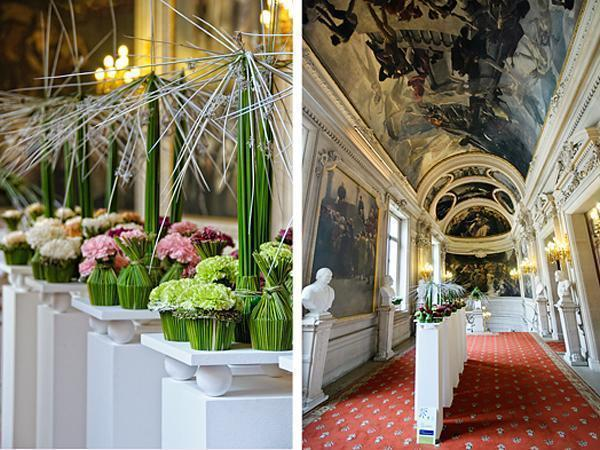 This breathtaking hallway is made even more beautiful by the floral designs