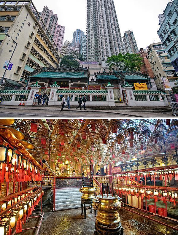 The tiny, tranquil Man Mo Temple is surrounded by skyscrapers